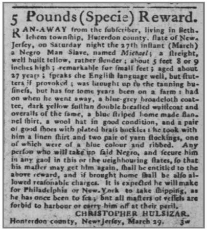 1790 Runaway Slave