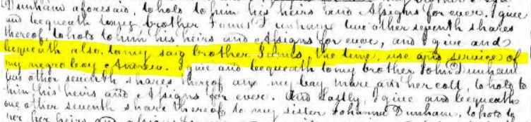 1802 excerpt of Aaron Dunham's will