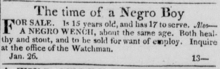 Age 17 Years Old. American Watchman and Delaware Advertiser (Wilmington, Del.) at 3 (Jan. 27, 1824)